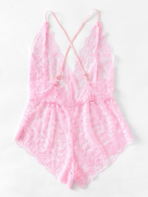 4f791f9cd34b Criss Cross Eyelash Floral Lace Teddy Bodysuit -SheIn(Sheinside)
