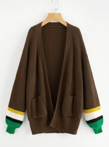 Striped Sleeve Pocket Front Cardigan