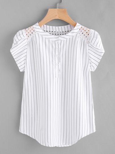 d6b2243112f Eyelet Embroidered Panel Petal Sleeve Pinstriped Blouse
