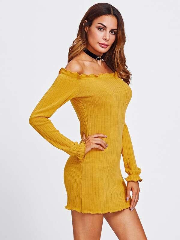 6c2938bd8c3f43 Lettuce Edge Trim Bardot Knit Dress