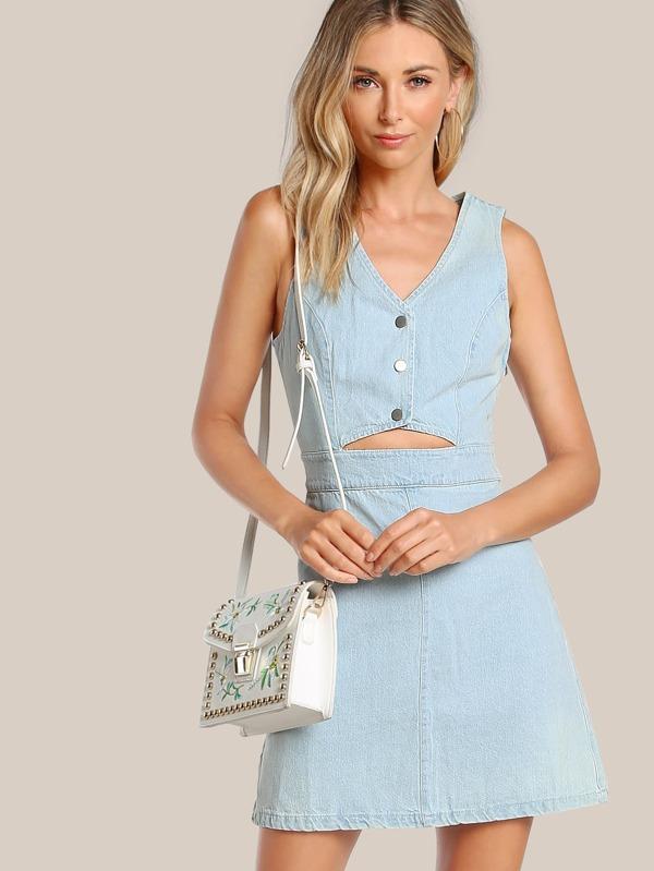 7aa7c241eaa Cheap Front Cutout Button Up Denim Dress BLUE for sale Australia