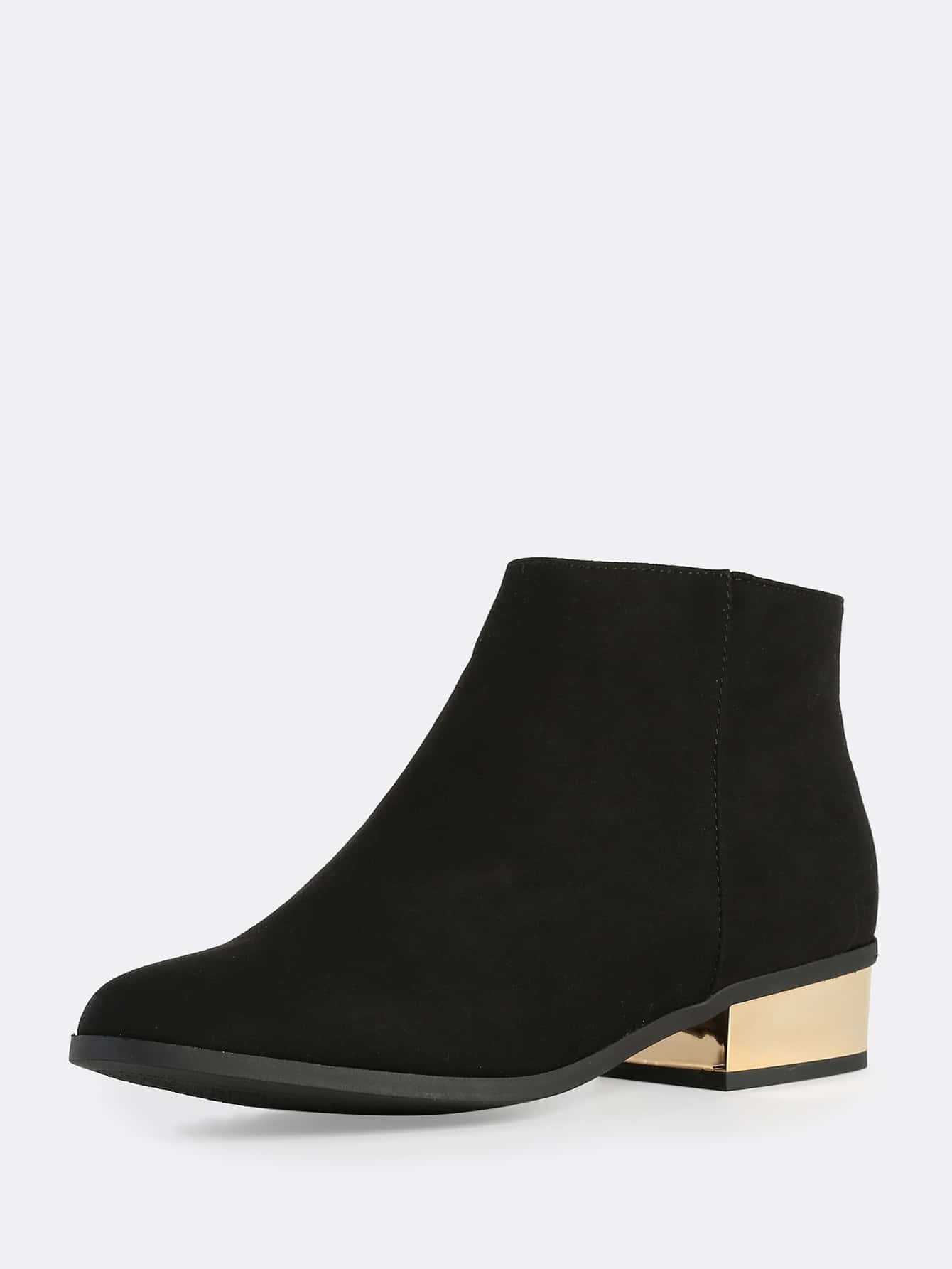 ca74c933e9 Faux Suede Gold Heel Boots BLACK | SHEIN