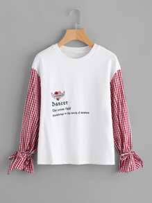 Gingham Sleeve Embroidered Mixed Media Tee