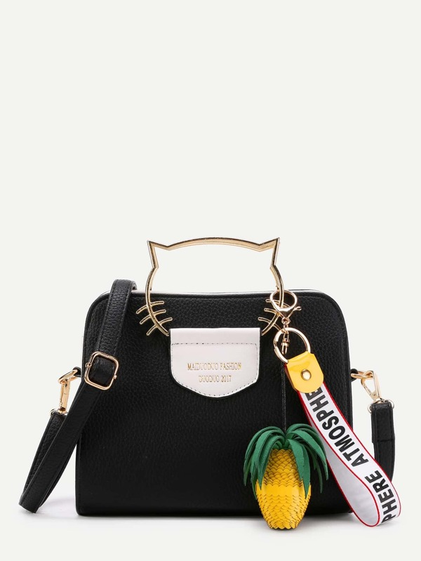 335a03d2ae Cat Ear Handle PU Shoulder Bag With Pineapple Detail | SHEIN UK