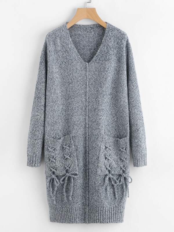 f573cc08e9f Lace Up Pocket Front Slit Marled Sweater Dress