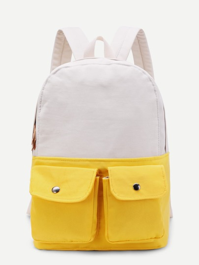 Two Tone Pocket Front Backpack