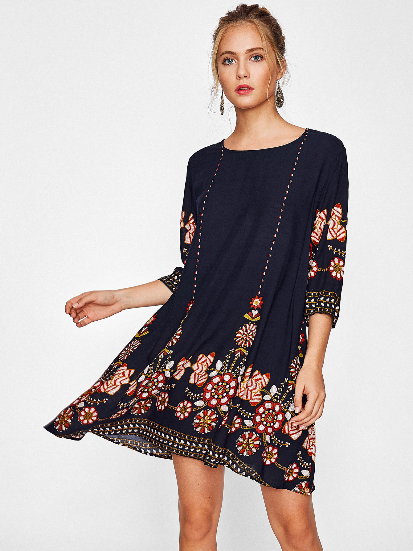 b03d7eaaa1 Flower Print Swing Dress | SHEIN UK