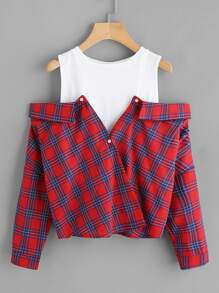 Open Shoulder Tartan 2 In 1 Shirt