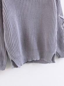 Eyelet Lace Up Sleeve Side Slit Sweater  80ac353fd
