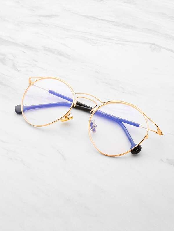Double Frame Oval Lens Glasses -SheIn(Sheinside)