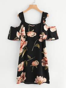Random Botanical Print Flounce Layered Chiffon Dress