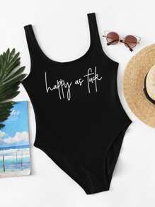 Slogan Print Low Back One Piece Swimsuit