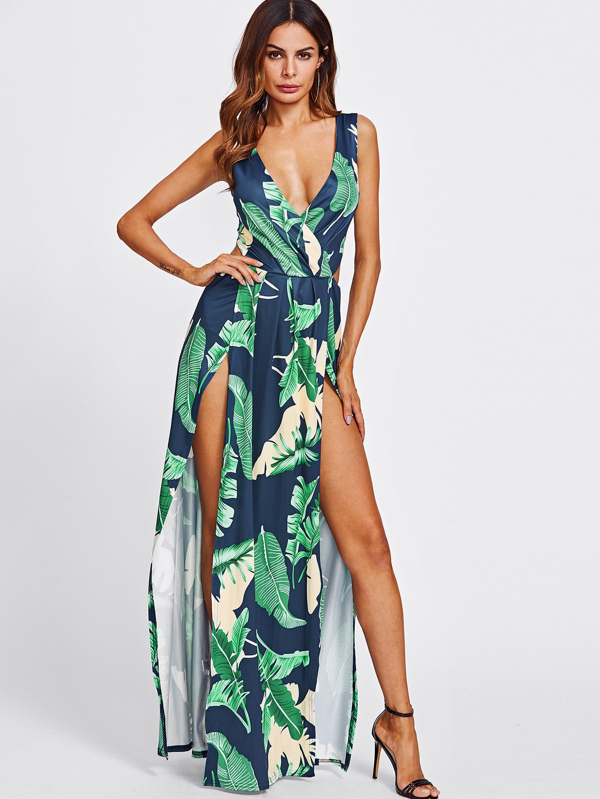 30e54da220b Surplice Neckline Open Back M-Slit Jungle Print Dress