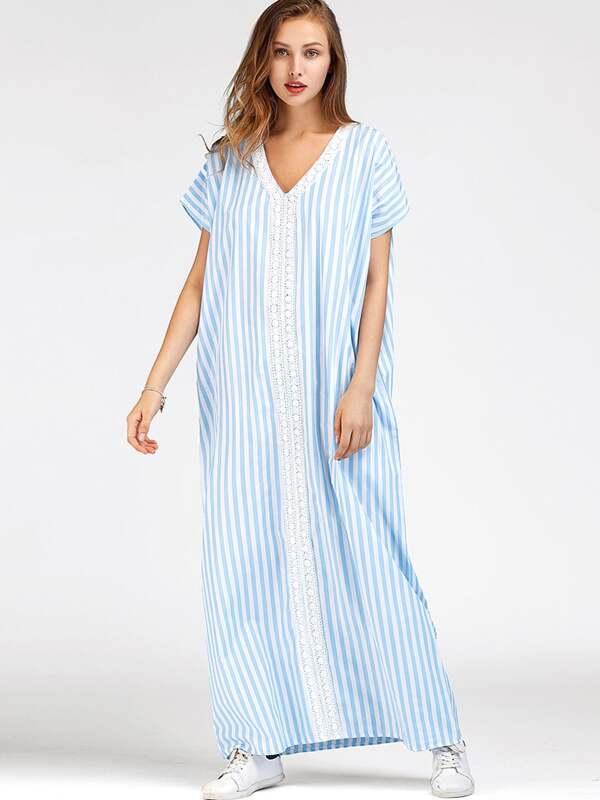 65ac67aa6 Vestido playero de rayas verticales crochet de encaje | SHEIN ES