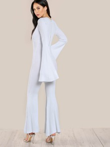a5a53429650 Cheap Ribbed Flare Hem Jumpsuit WHITE for sale Australia