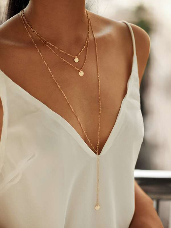 Round pendant layered necklace set sheinsheinside mozeypictures Image collections
