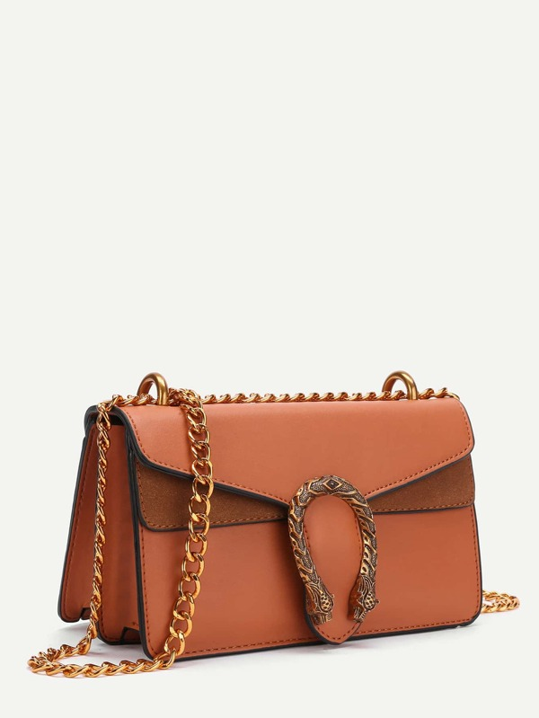759a9e000f01 Metal Detail Faux Leather Chain Bag
