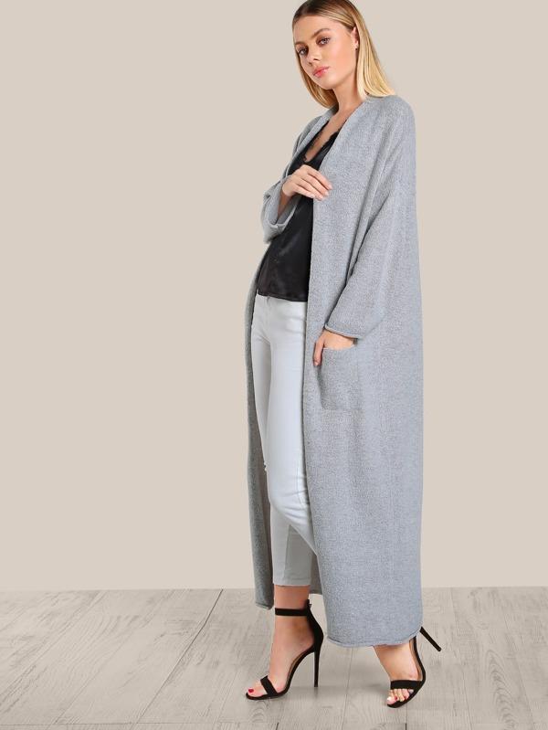 Cheap Long Sleeve Open Floor Length Cardigan GREY for sale Australia ... a4b7fb0ed