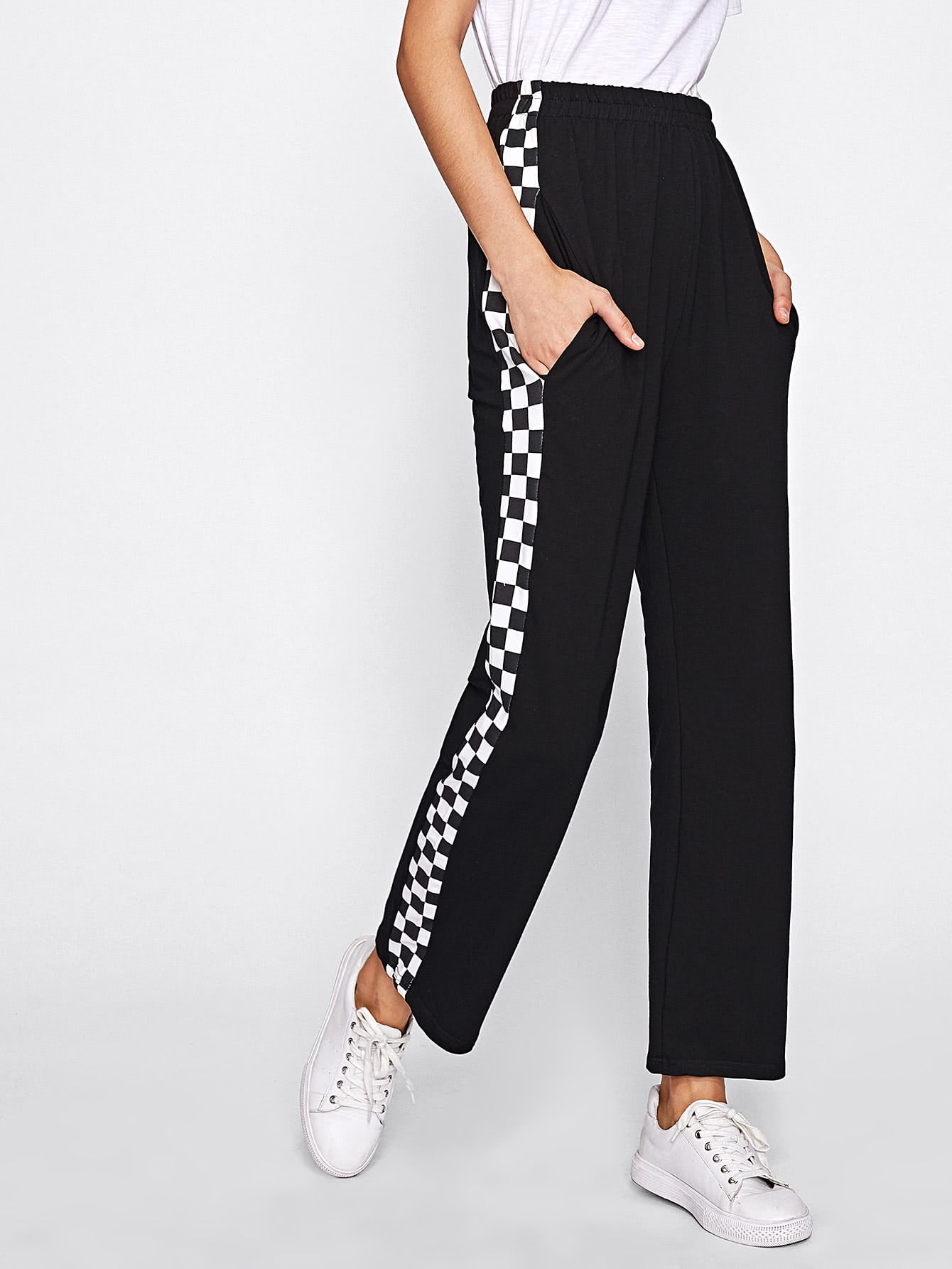 Side Checked Pants Romwe