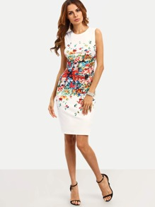 Watercolour Print Pencil Dress