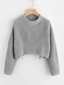Vented Hem Chunky Knit Crop Jumper