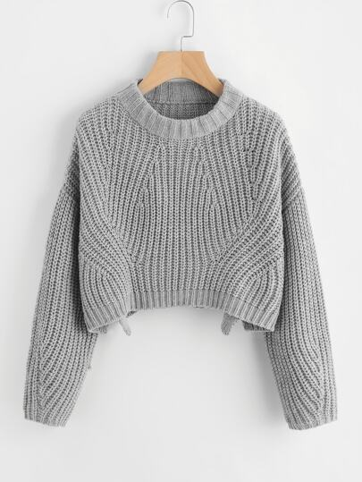Vented Hem Chunky Knit Crop Sweater