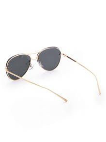 4e26c819e5d Rimless Double Bridge Aviator Sunglasses -SheIn(Sheinside)