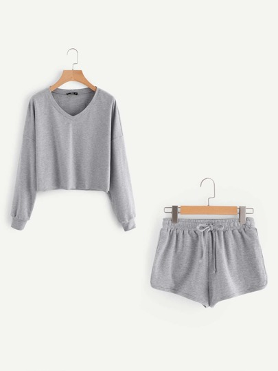 Dropped Shoulder Heathered Pullover And Dolphin Hem Shorts Set