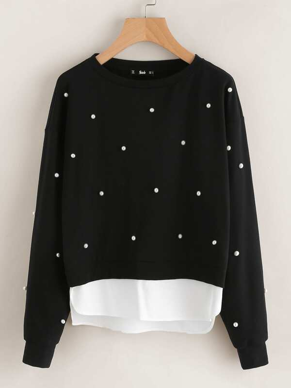 eb56cc52ddc Pearl Beading 2 In 1 Sweatshirt