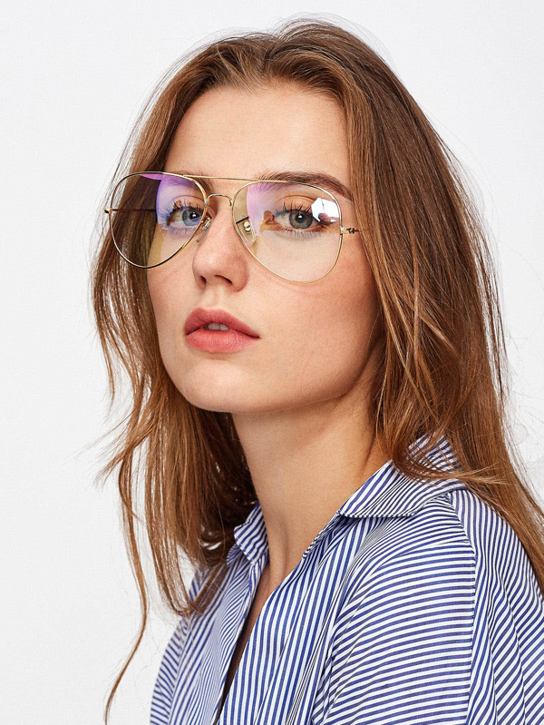 3ab27d5b65db Top Bar Aviator Glasses   SHEIN UK