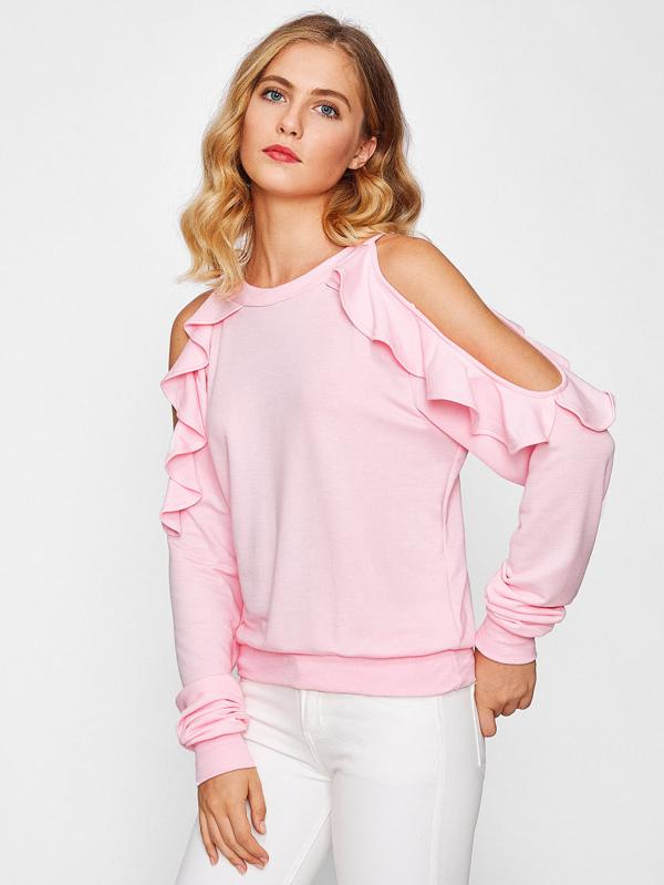 d48d624105985a Schulterfreies Sweatshirt mit schößchem Saum | SHEIN