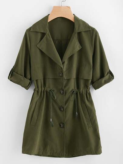 Rolled Sleeve Drawstring Waist Trench Coat
