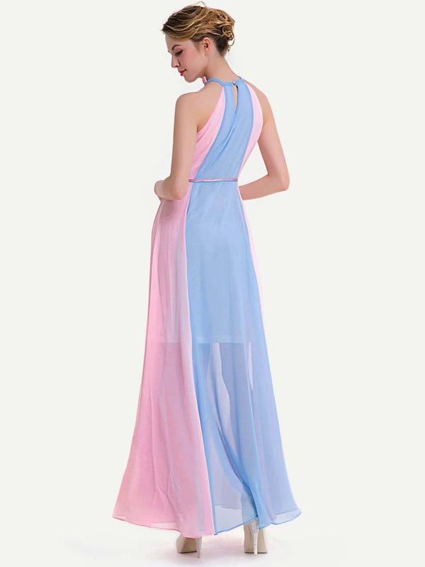 3fa35752a99d6 فستان شيفون ازرق وردي ثقب مفتاح خلفي كشكش