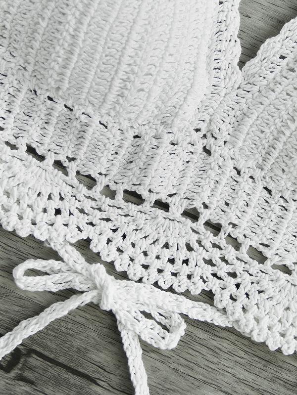Top de croché con abertura de espalda abierta-Spanish SheIn(Sheinside)