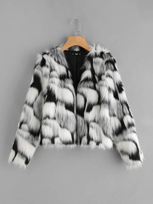 8b89133547 Two Tone Faux Fur Open Front Coat
