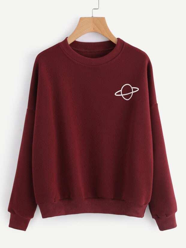 58040dc61690f1 Planet Print Sweatshirt   ROMWE