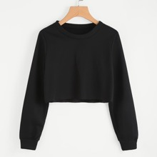 SHEIN | Raw Hem Crop Sweatshirt | Goxip