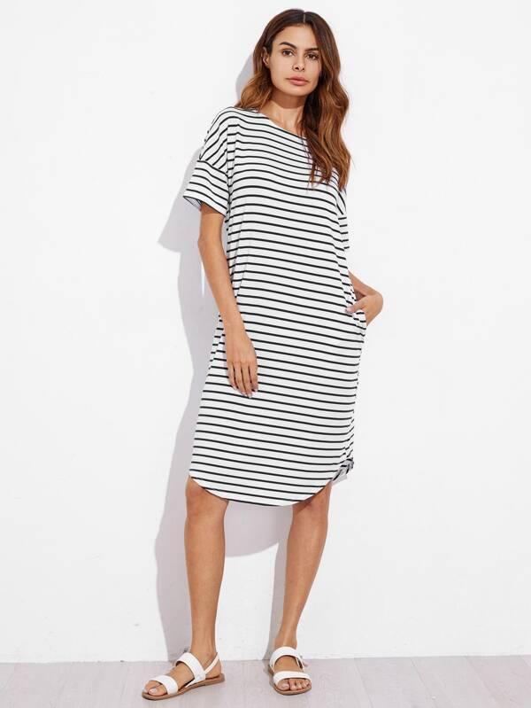 e367710324 Curve Hem Striped Tee Dress | SHEIN