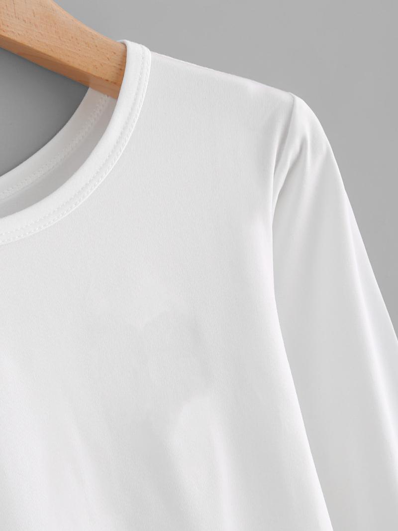 8ee1fb9dd3459 T-shirt à manches longues unicolore