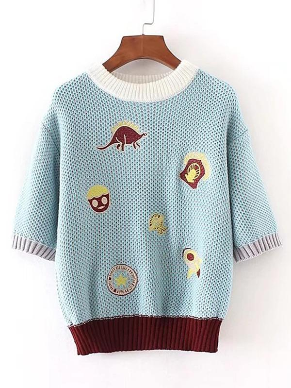 Contrast Binding Ribbed Trim Embroidery Sweater -SheIn(Sheinside) 1cbf3484886cc