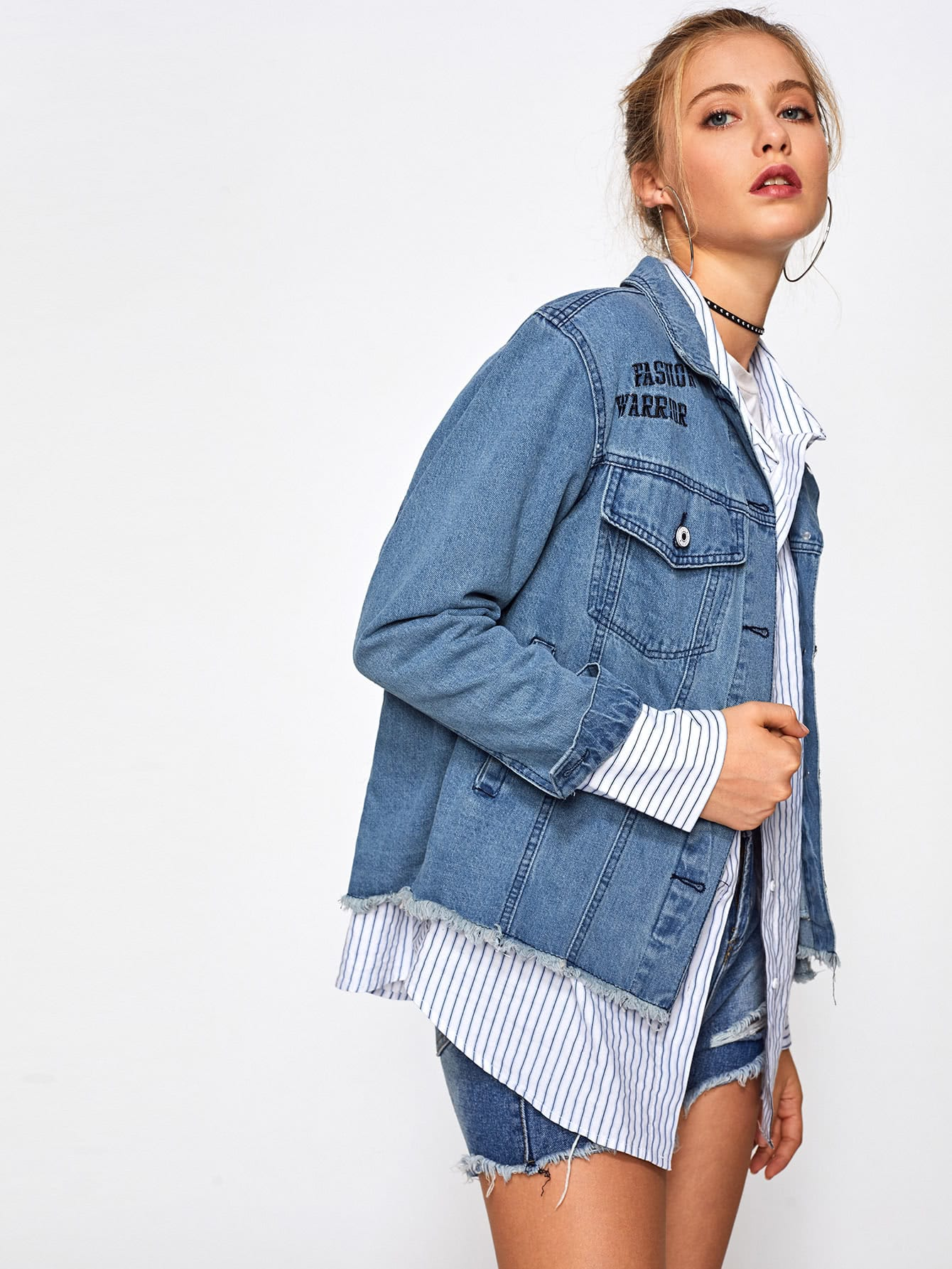 zerrissene jeans jacke mit flicken hinten german shein sheinside. Black Bedroom Furniture Sets. Home Design Ideas