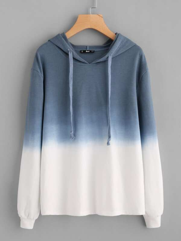 abace57014 Ombre Drop Shoulder Drawstring Hoodie | SHEIN UK