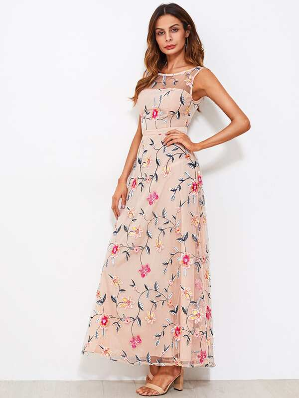 95c7b491 All Over Flower Embroidered Mesh Overlay Dress | SHEIN
