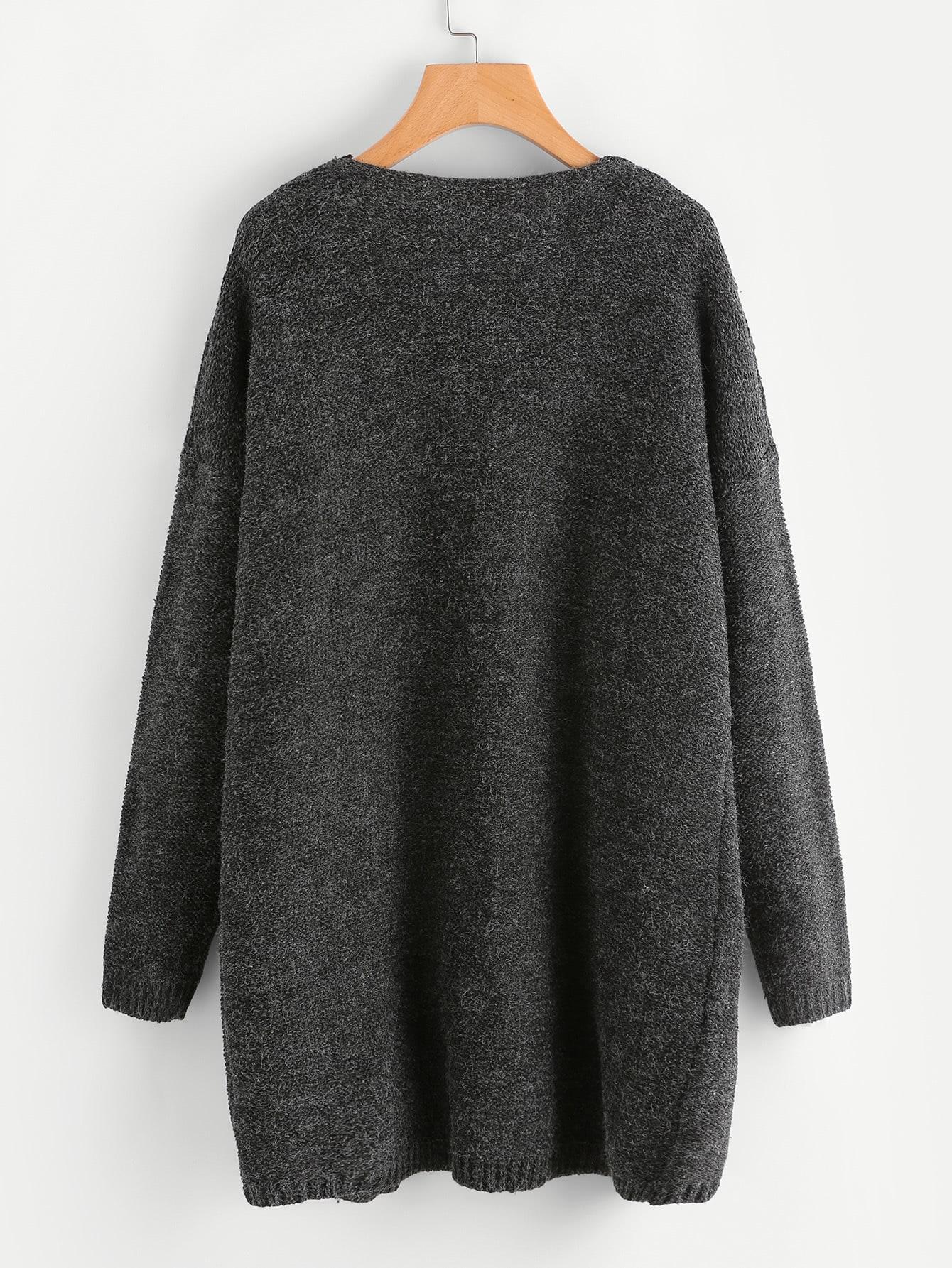pullover mantel mit tasche german shein sheinside. Black Bedroom Furniture Sets. Home Design Ideas