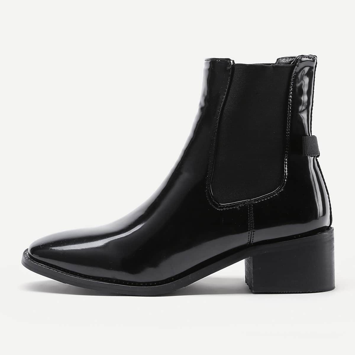 - Almond Toe Patent Leather Ankle Boots