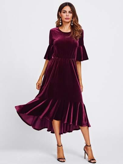 509dcc98a000 Trumpet Sleeve Flounce Hem Velvet Dress