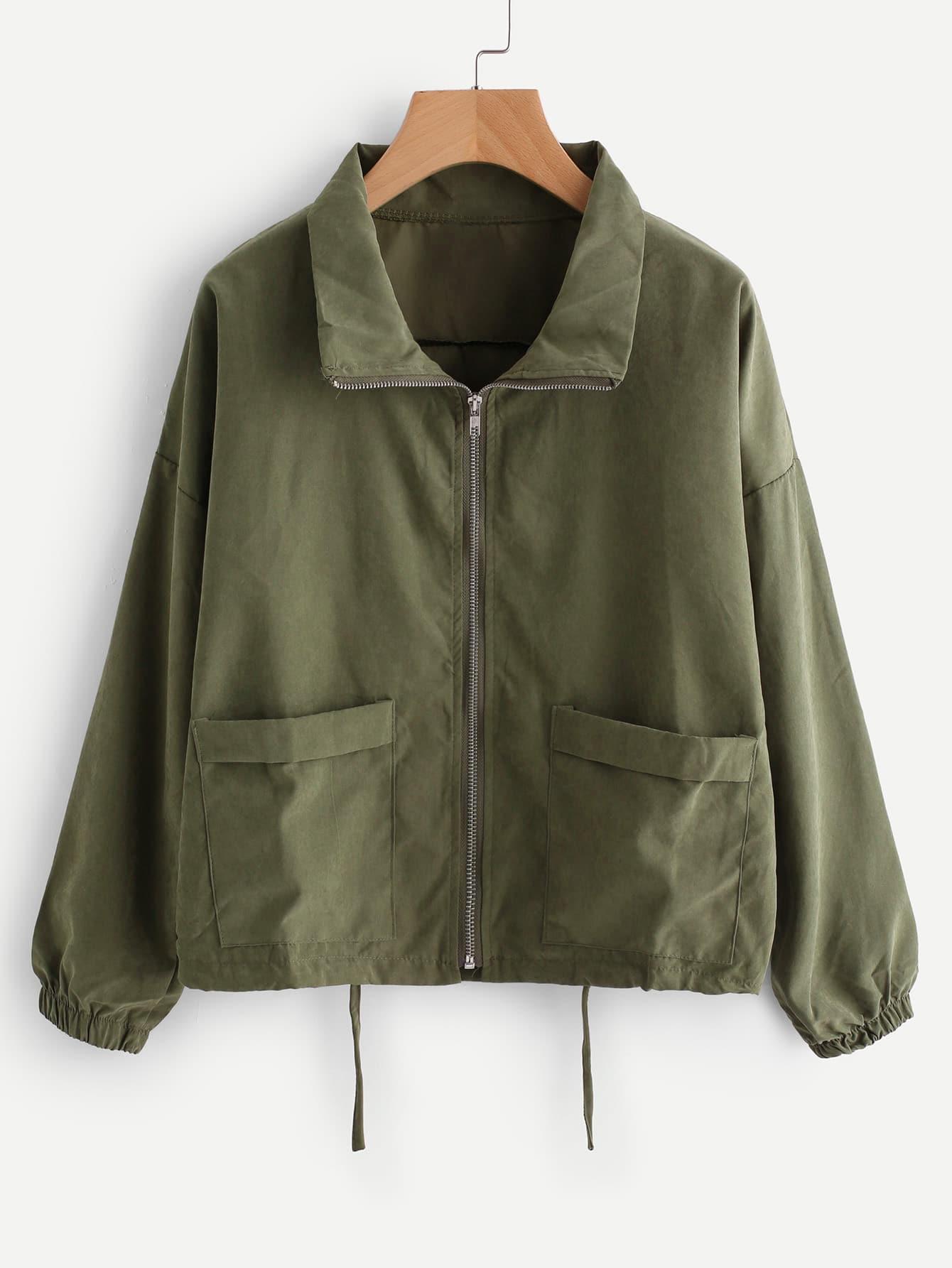 Zip Up Drawstring Jacket Sheinsheinside Tendencies Sweater Hoody Green Zipper Olive S