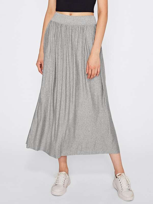 8f5a20306b Crinkle Elastic Waist Full Length Skirt   SHEIN IN