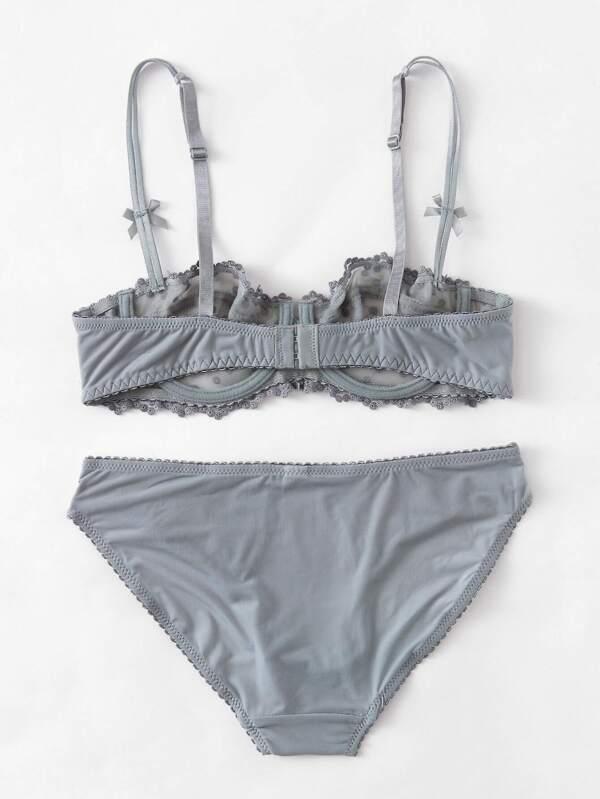 0a6eadcb1c Bow Detail Lace Demi Cup Lingerie Set -SHEIN(SHEINSIDE)