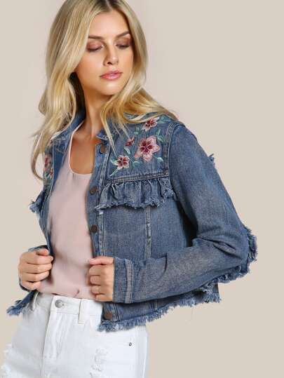Floral Embroidered Denim Jacket DENIM